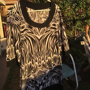 Black and White Zebra Floral Mini Dress - Like New